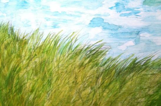 My Painting: Windswept Grass along the Irish Sea